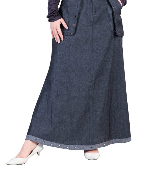 Denim Riveted Skirt Black