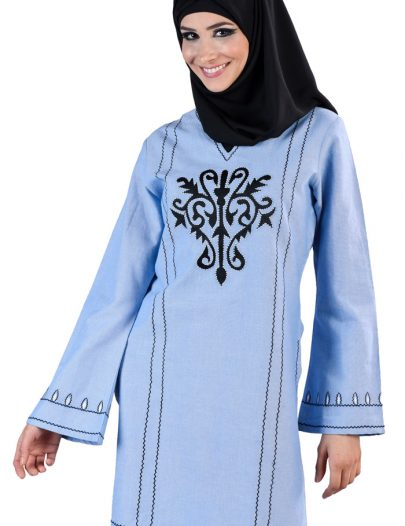 Embroidered Front Tunic Kurti Blue