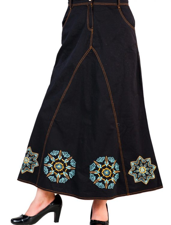 Embroidered Twill Skirt Black