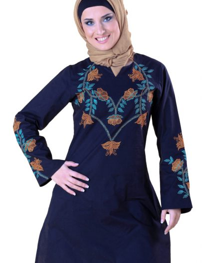 Floral Embroidered Tunic Black