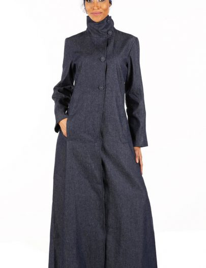 High Neck Denim Abaya Blue