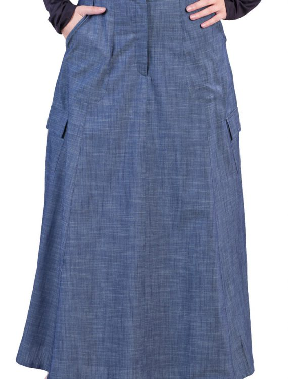 Light Denim Skirt Blue