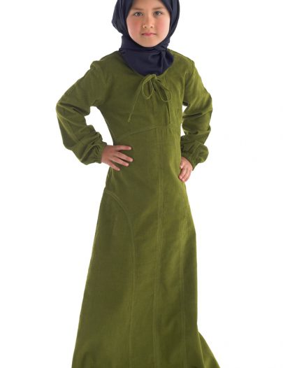 Medina Girls Abaya Olive Green