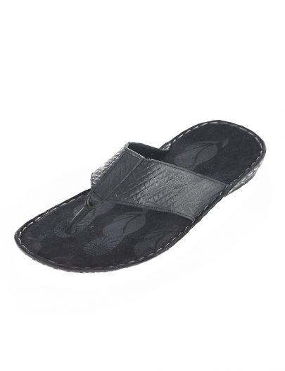 Mens Leather Flip Flop Black