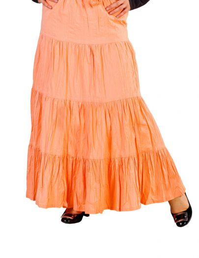 Multi-Tiered Cotton Skirt Peach