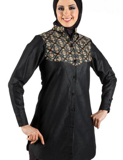 Oriental Multi-Color Kurti Black
