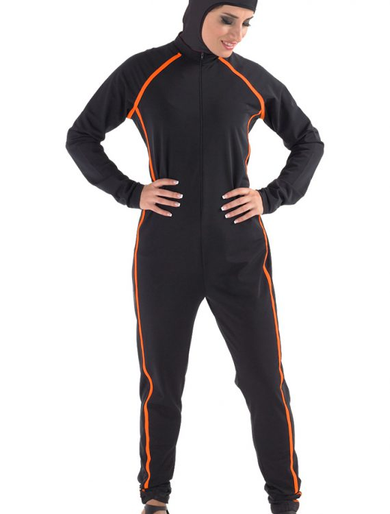 Perizad Sports Burqini (One Piece) Black/Orange Trims