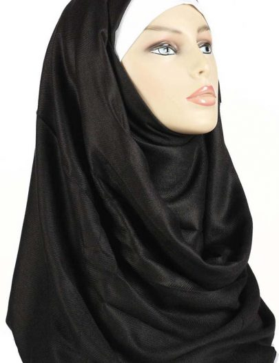 Plain Black Dual Purpose Pashmina Shawl & Hijab