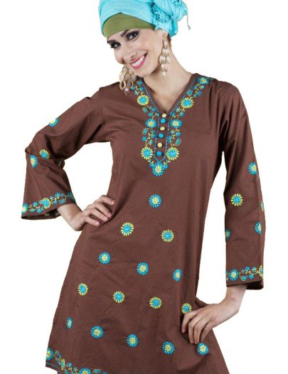 Polka Embroidered Kurti Brown