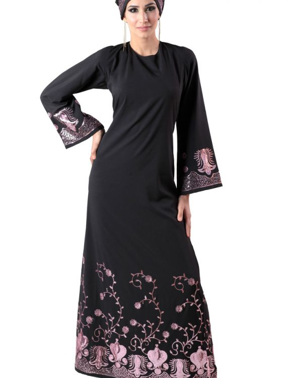 Salma Abaya Sequin (Set) Black
