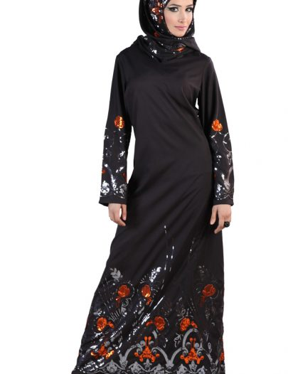 Shaylah Abaya Sequin (Set) Black
