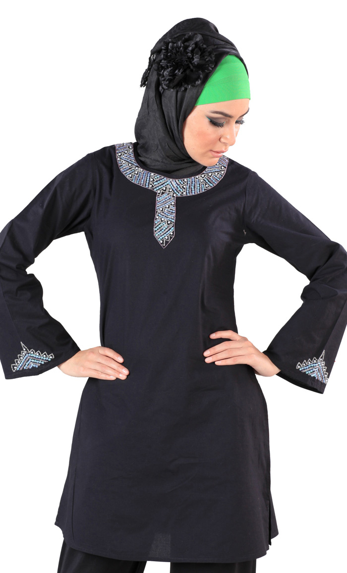 76b63d50b5c Tahani Kurti Black Shop at Discount Price - Islamic Clothing