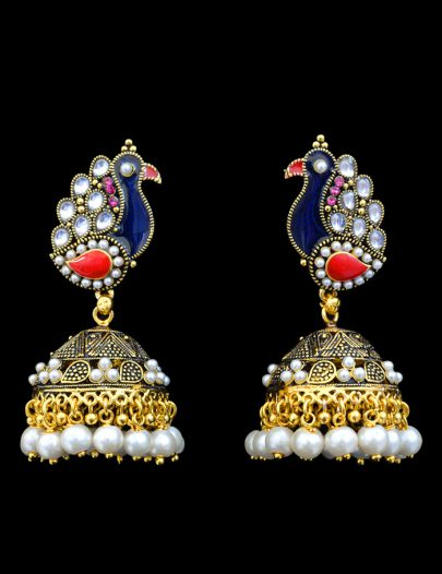 Peacock Style Earring In White