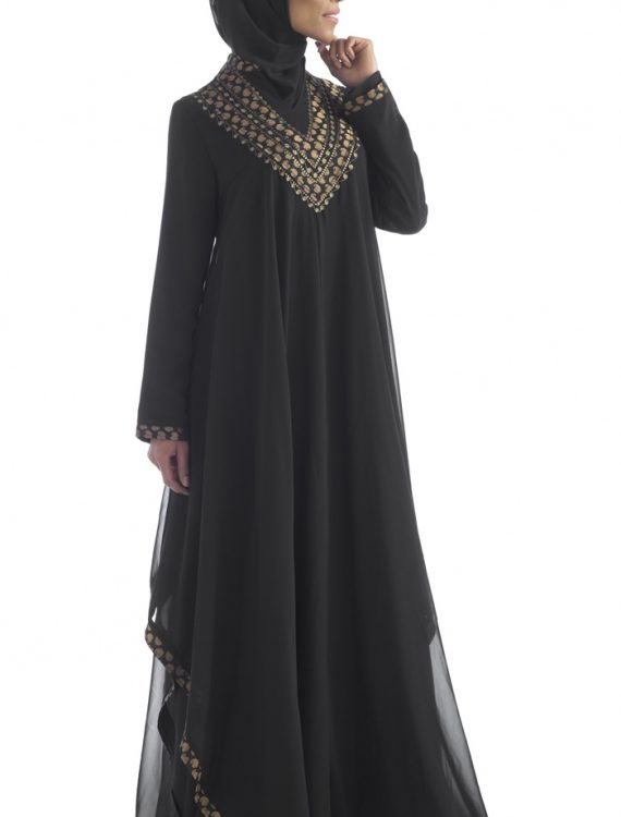 Black Sheer Georgette Abaya