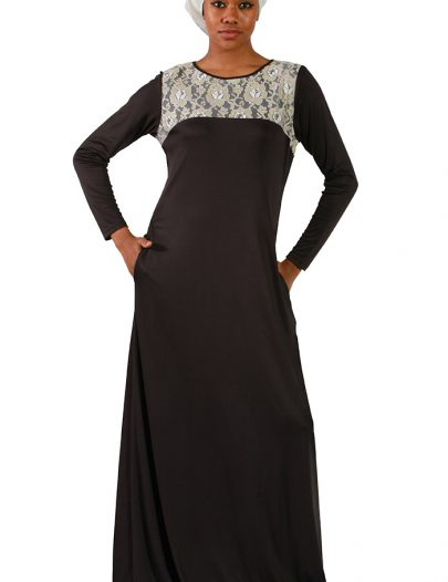 Laced Poly Knit Abaya Black