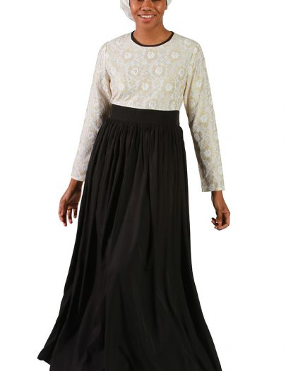 Laced Pleated Abaya Black