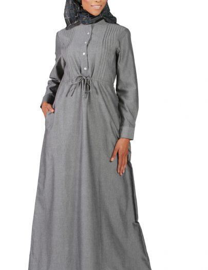 Drawstring Chambray Abaya- Grey