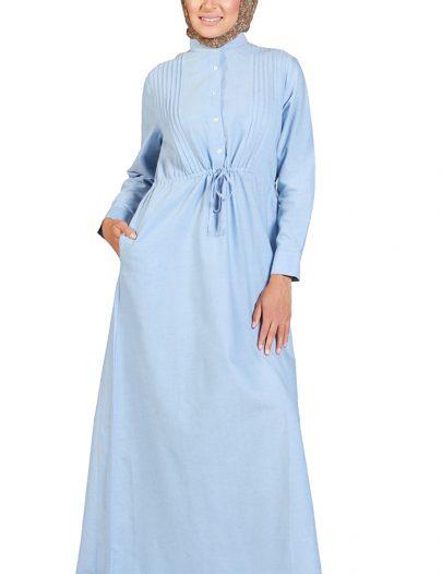 Traditional Drawstring Waist Abaya Blue