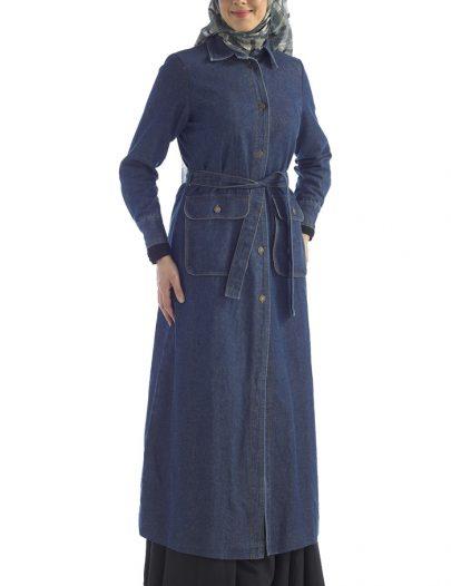 Belted Denim Abaya Blue