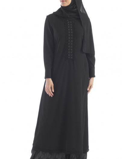 Double Layered Lace Abaya Black