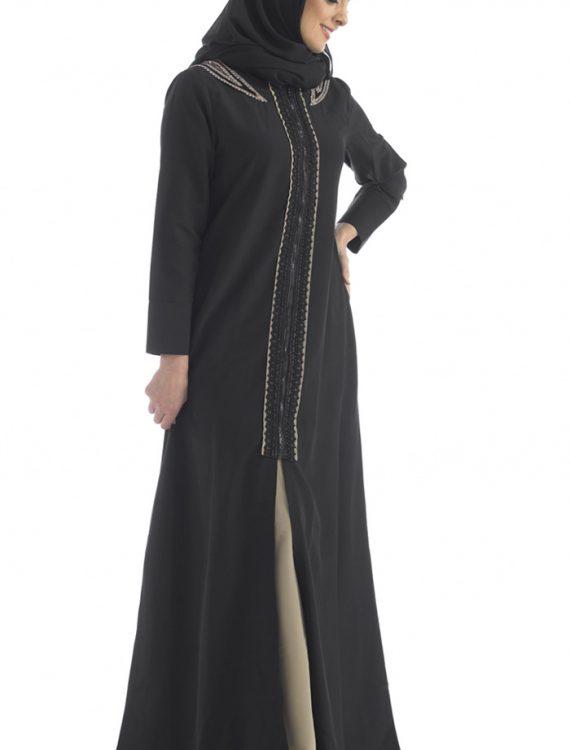 2 Piece Abaya Black & Beige Black