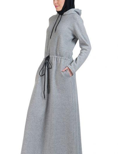 Fleece Hoodie Abaya- Grey