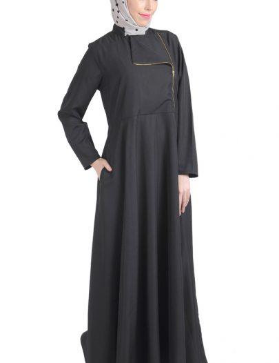 Black Flap Zipper Front Abaya
