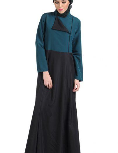 Color Block Formal Abaya Teal