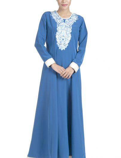 Embroidered Light Blue And White Abaya Dress