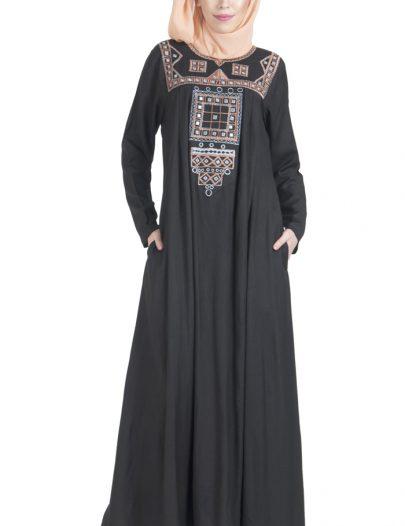 Palestine Embroidered Abaya Black