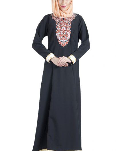 Orange Rust Embroidered Black Abaya Dress Black