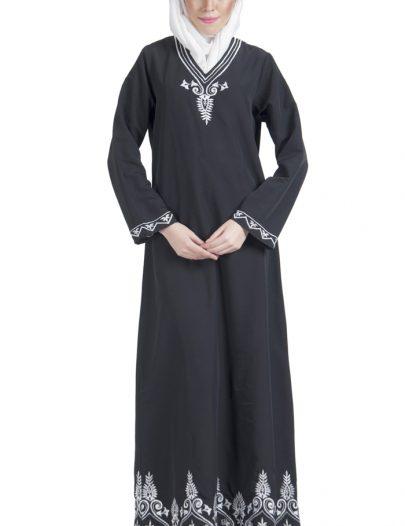 Basic Black With White Embroidery Abaya Dress Black