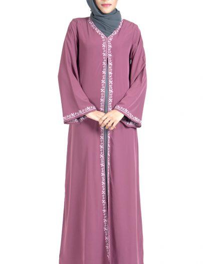 Double Layer Crepe Pink And Grey Abaya Dress