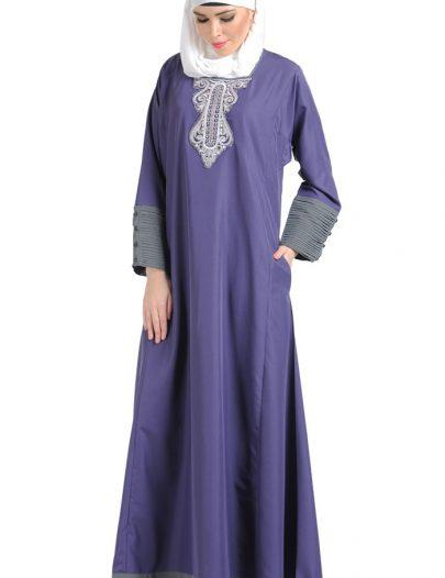 Embroidered Violet Formal Abaya Violet