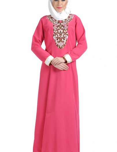 Embroidered Pink Formal Abaya Dark Pink