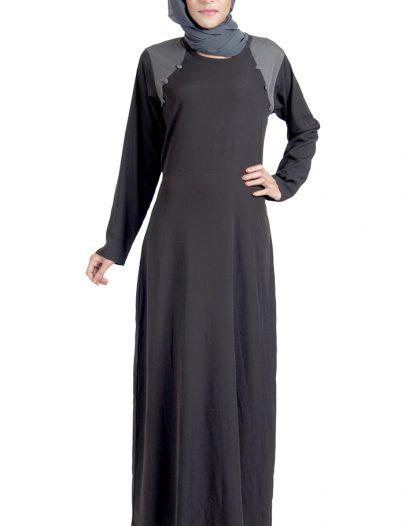 Basic Black Crepe Abaya Dress
