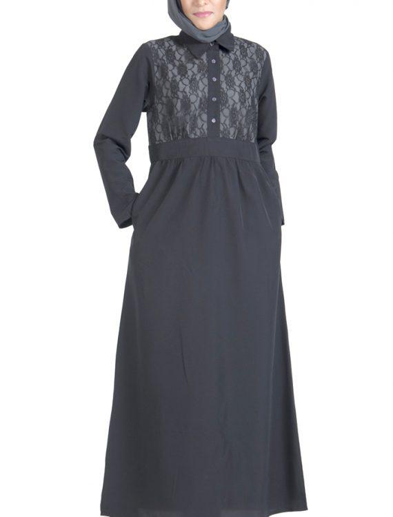Lace Work Front Open Crepe Black Abaya Dress Black