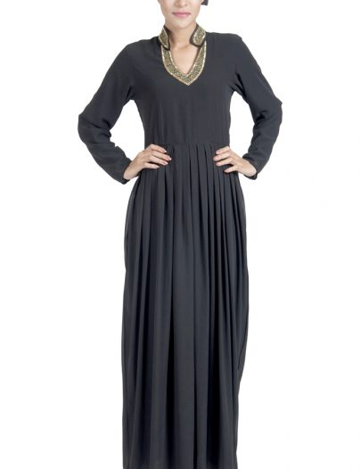 Double Layer Pleated Black Georgette Abaya Evening Dress Black