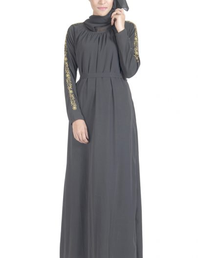 Double Layered Crepe Abaya Dress With Embroidered Sleeve Detail Black