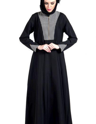 Zipper Front Black And White Print Dress Abaya