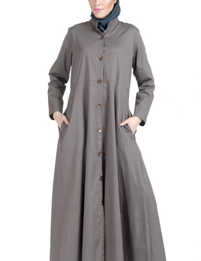 100% Twill Button Down Jilbab Dress Grey