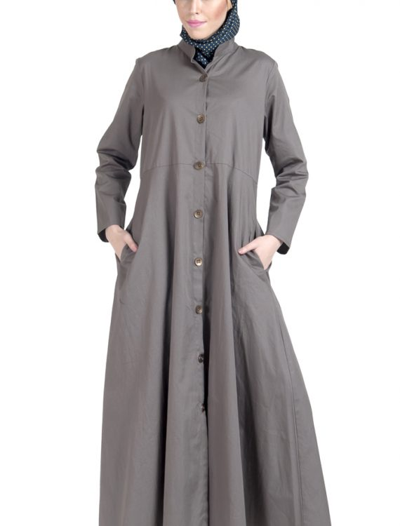 100% Twill Button Down Jilbab Dress Grey