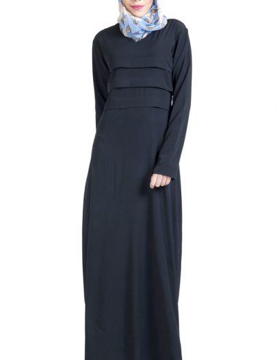 Pleated Crepe Black Abaya Dress