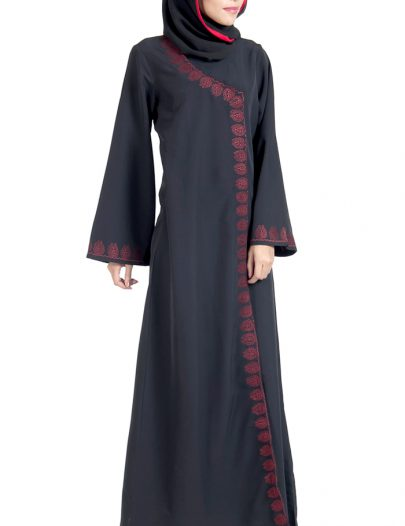 Wrap Around Black And Red Abaya Dress
