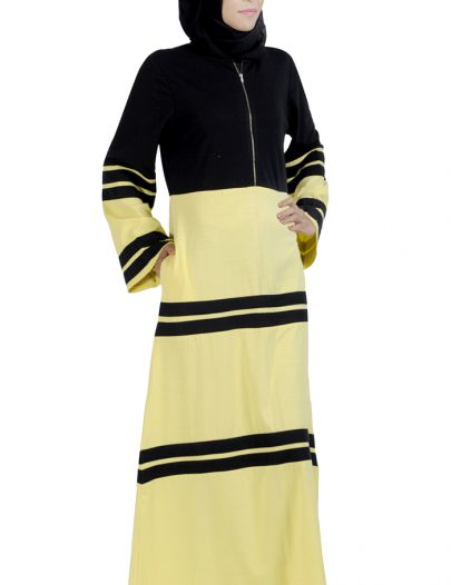 Color Block Knit Zipper Abaya