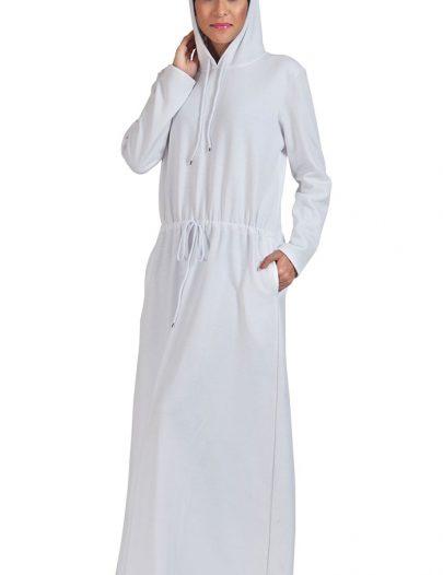 Fleece Hoodie Abaya - White