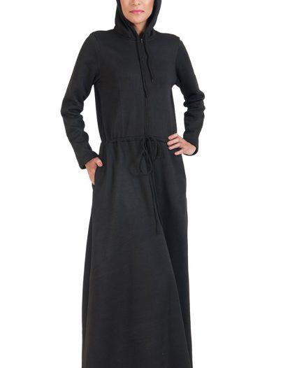 Fleece Hoodie Abaya-Black