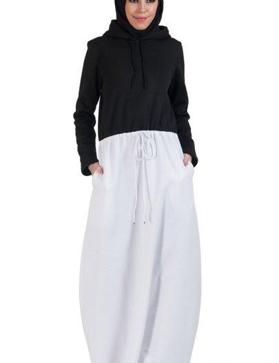 Colorblock Fleece Hoodie Abaya