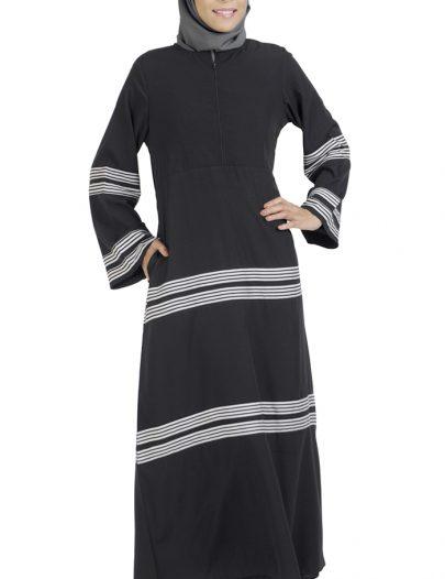 Stripe Center Zip Abaya