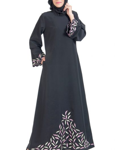 Unique Embroidered Abaya Dress Black